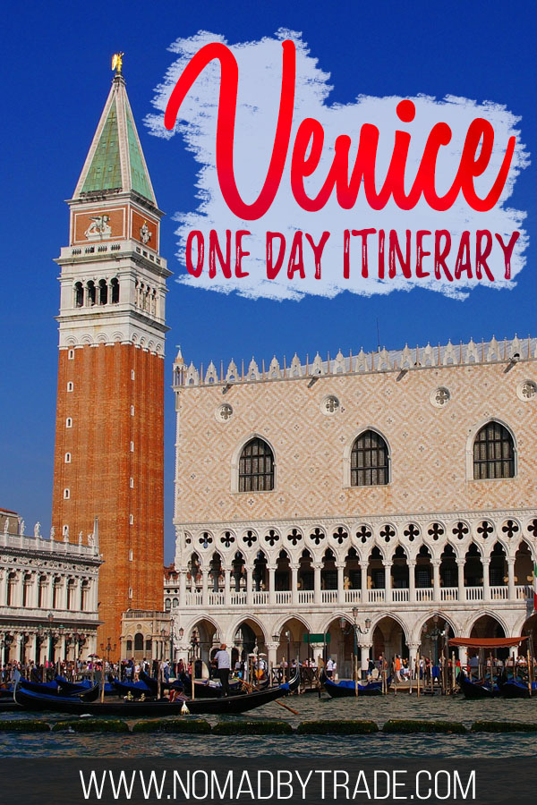 "Doge's Palace in Venice with text overlay reading ""Venice one day itinerary"""