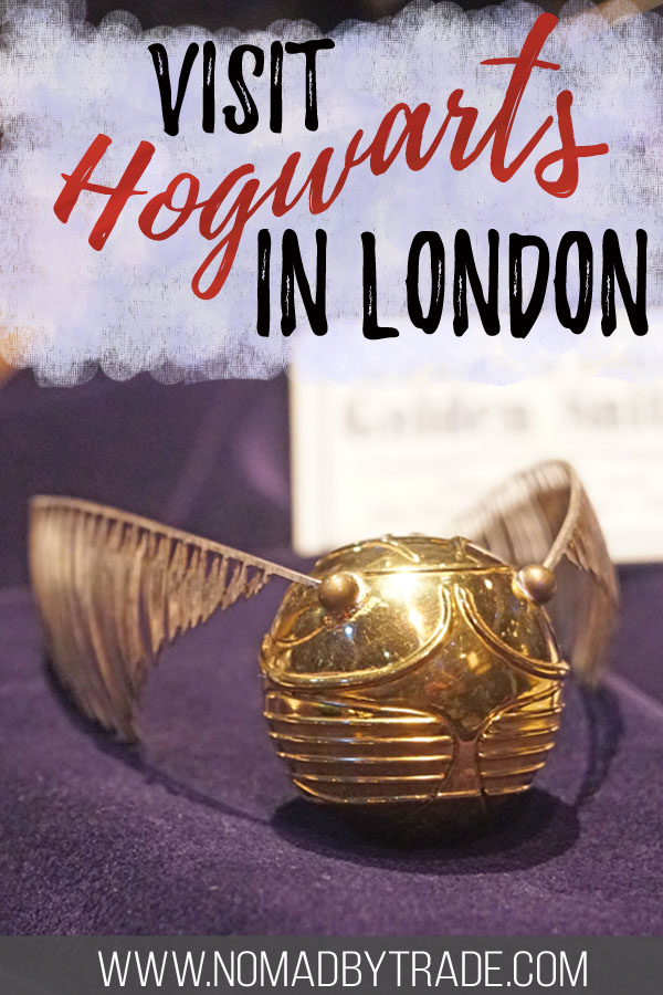 """Golden snitch with text overlay reading """"visit Hogwarts in London"""""""
