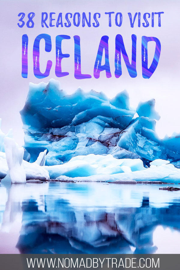 """Photo of icebergs with text overlay reading """"38 reasons to visit Iceland"""""""