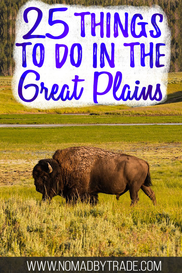 """Buffalo in rolling grass fields with text overlay reading """"25 things to do in the Great Plains"""""""