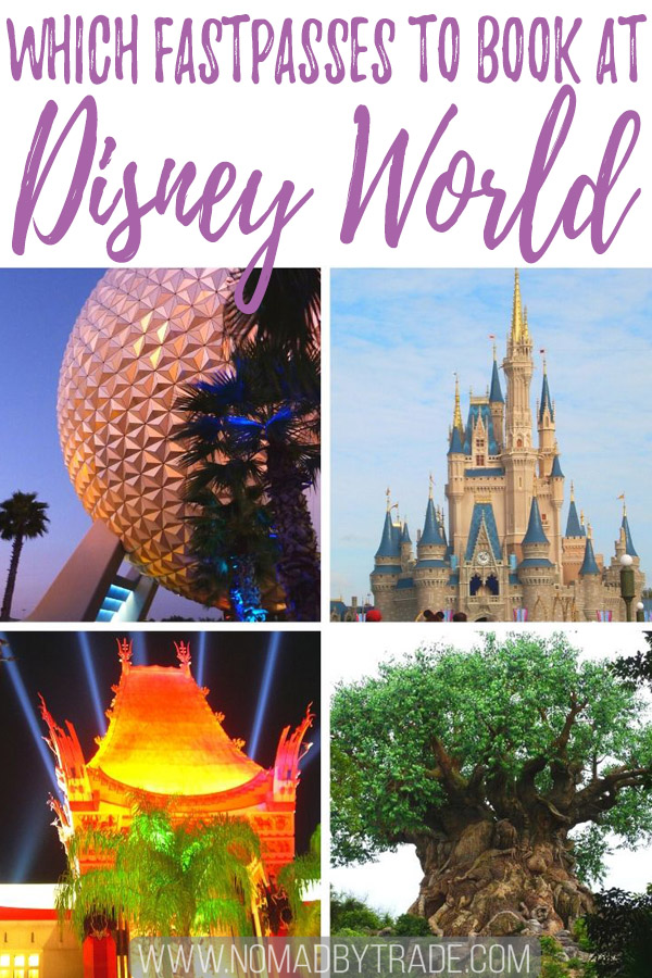 """Photo collage with text overlay reading """"Which FastPasses to book at Disney World"""""""
