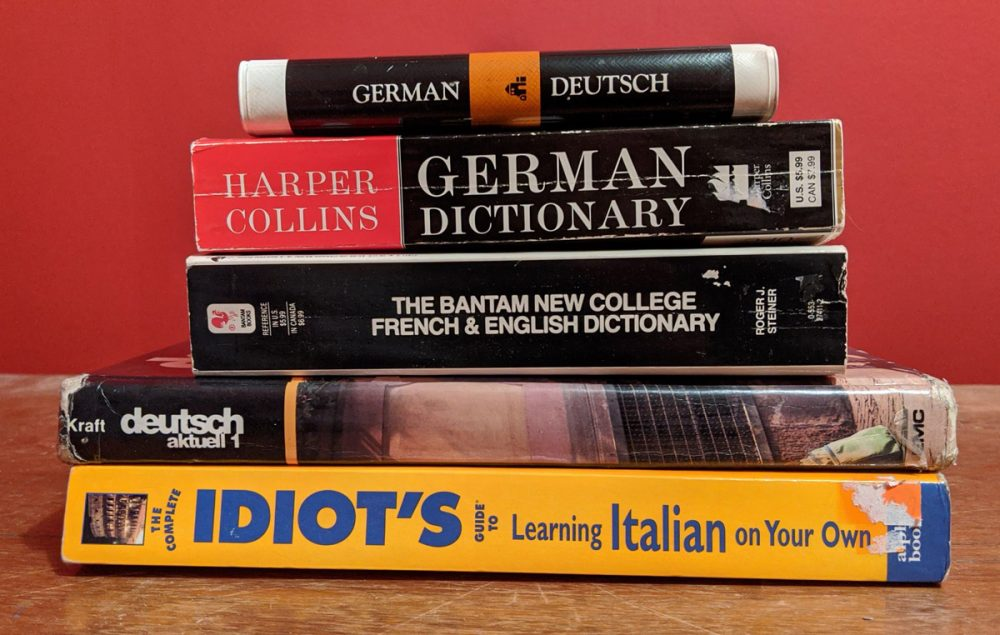 Stack of foreign language books