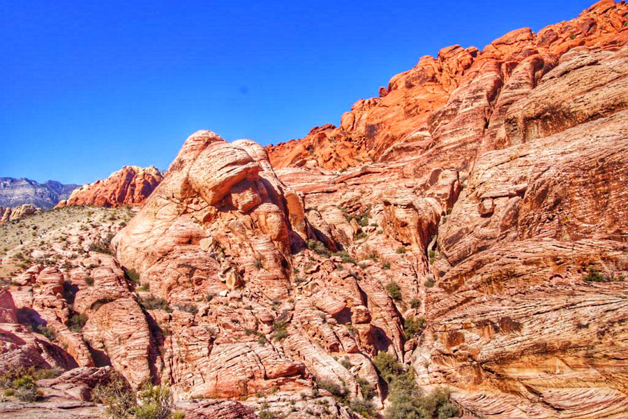Red rock formations under a bright blue sky in Red Rock Canyon