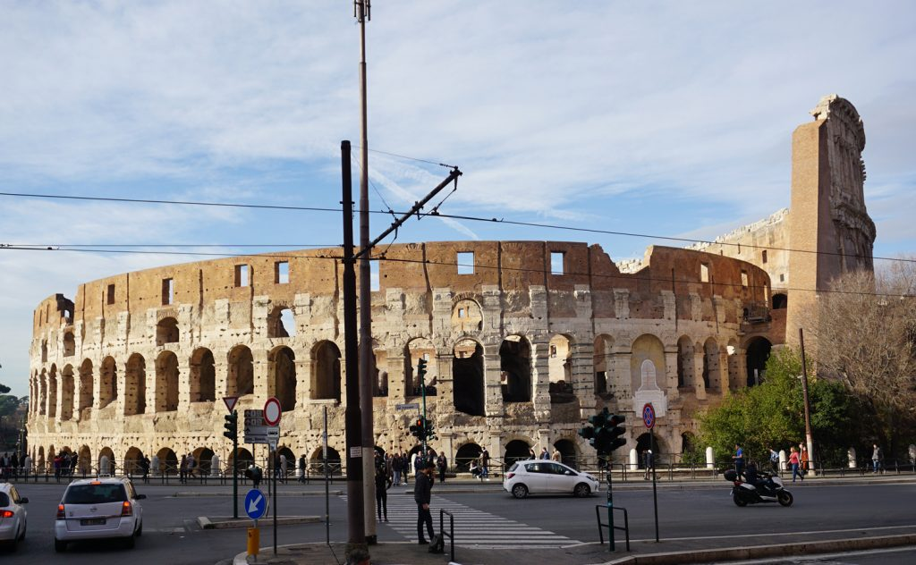 View of the Colosseum from my hotel in Rome