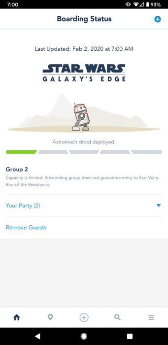 Screenshot showing a low Rise of the Resistance boarding group