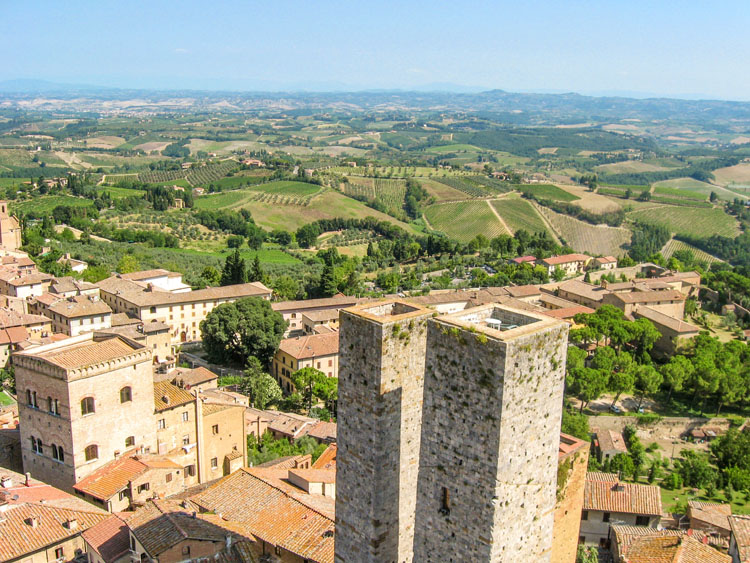 Historic towers in San Gimignano, Italy