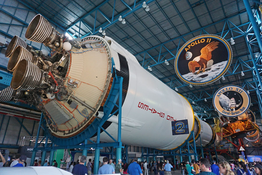 The Saturn V rocket on display at the Kennedy Space Center Visitor Complex