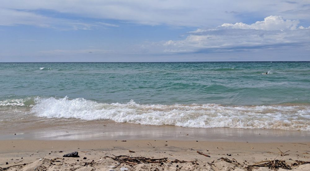 View from the shore of Esch Beach in Sleeping Bear Dunes National Lakeshore