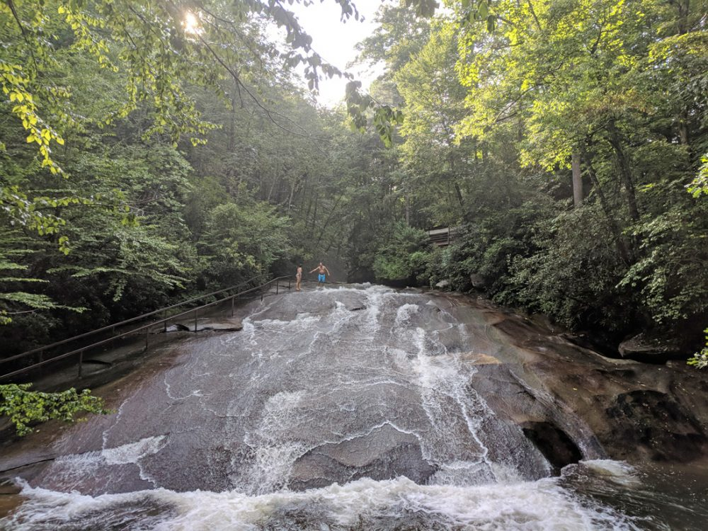Sliding Rock, a natural waterslide, in Pisgah National Forest