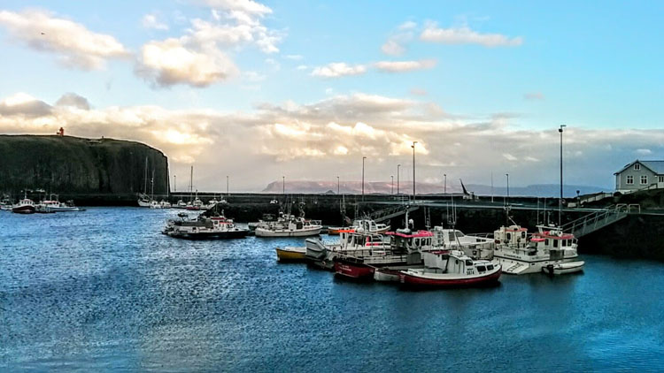 Boats docked along the Snaefellsness Peninsula in Iceland