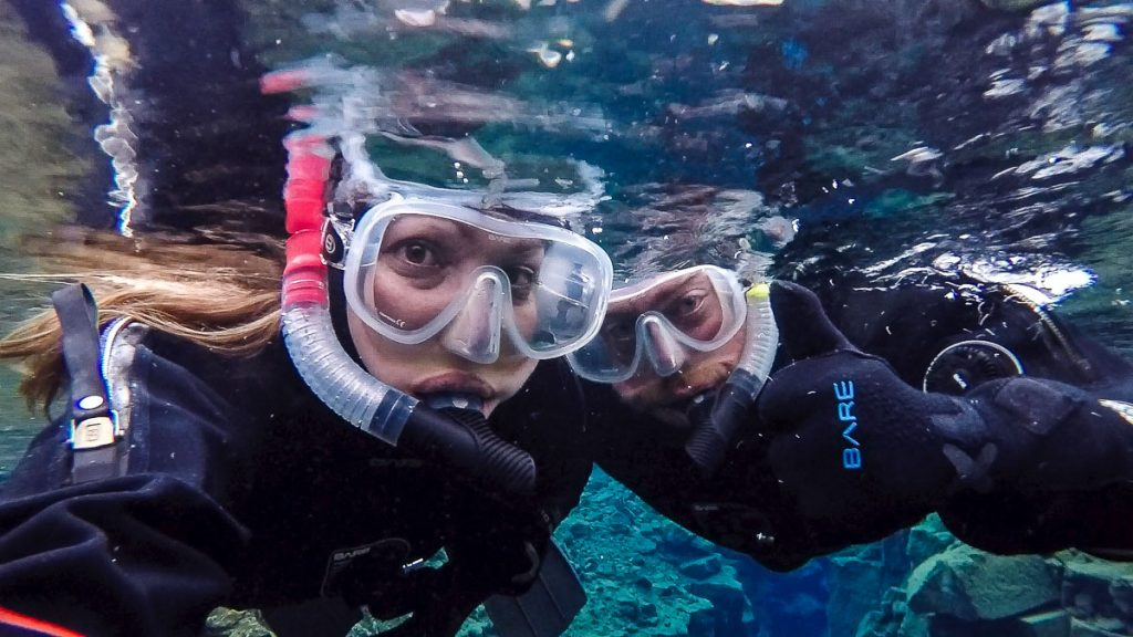 Snorkeling in the Silfra Fissure in Iceland