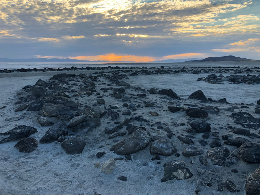 Dusk over Spiral Jetty in the Great Salt Lake