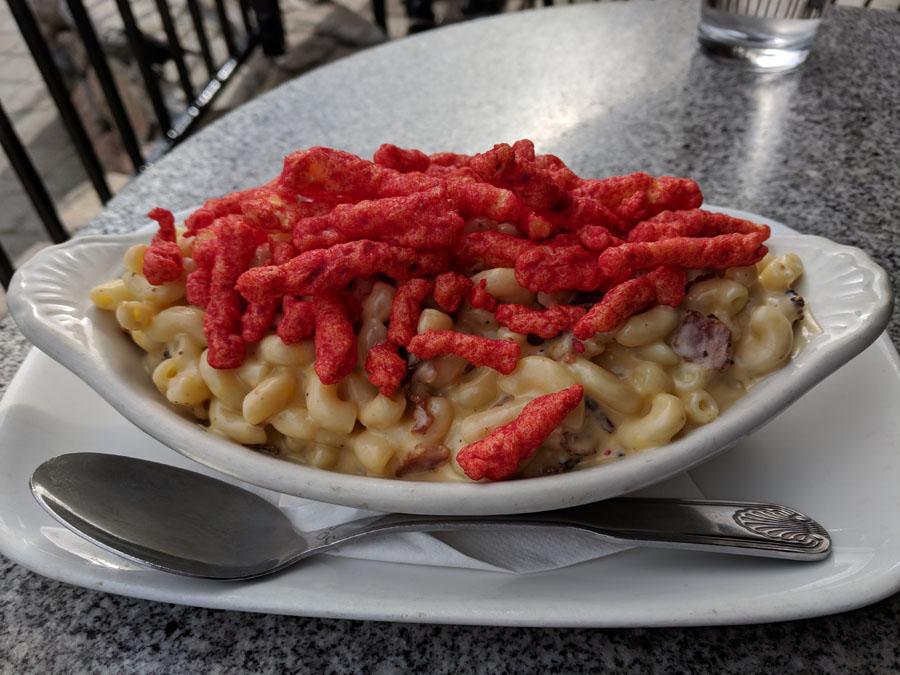 Mac & cheese covered with Cheetos at Squaw Valley