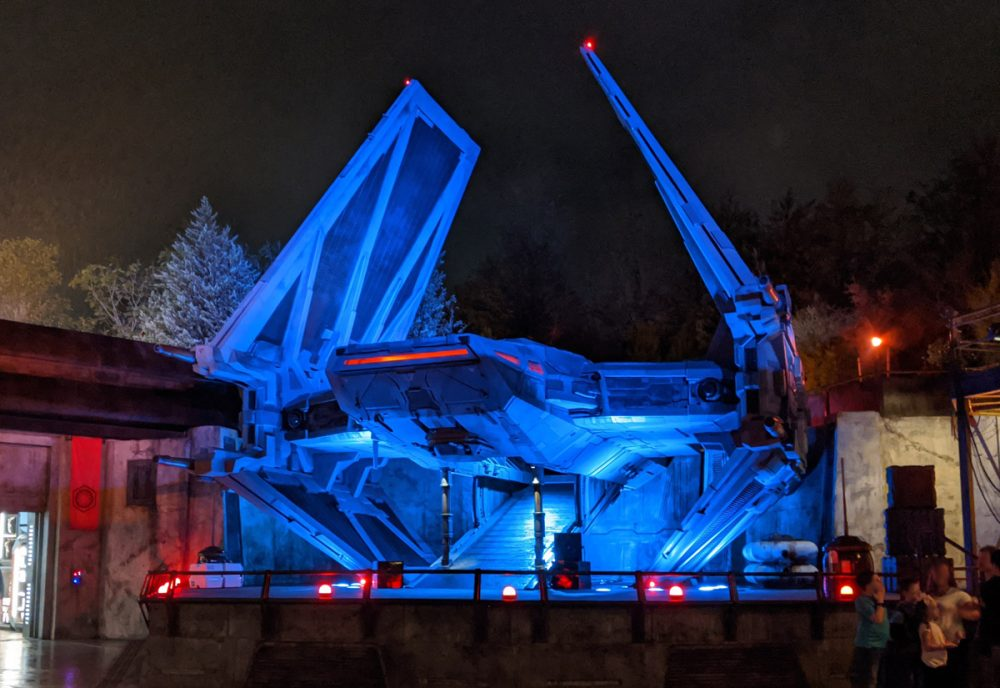 Imperial Tie Fighter lit up at night in Galaxy's Edge