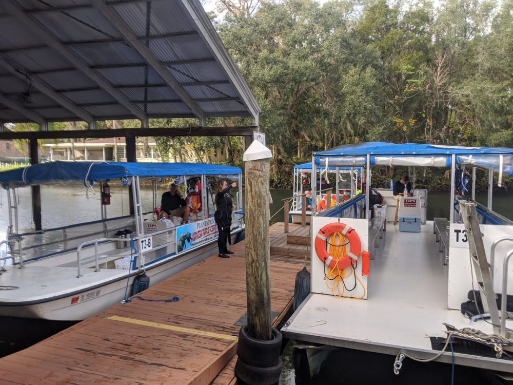 Boats docked in preparation for swimming with the manatees