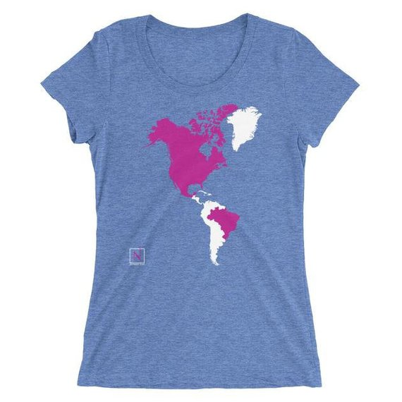 Custom printed t-shirt showing countries visited