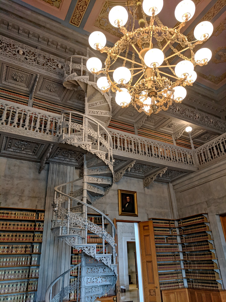 Ornately decorated spiral staircase in the Tennessee Capitol Library