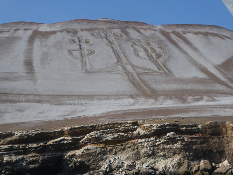 Candelabra formation in a mountain in Paracas, Peru