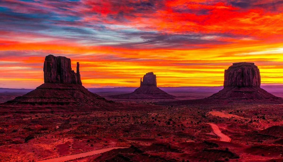 Sunset over Monument Valley is one of the top things to do in the Southwestern United States