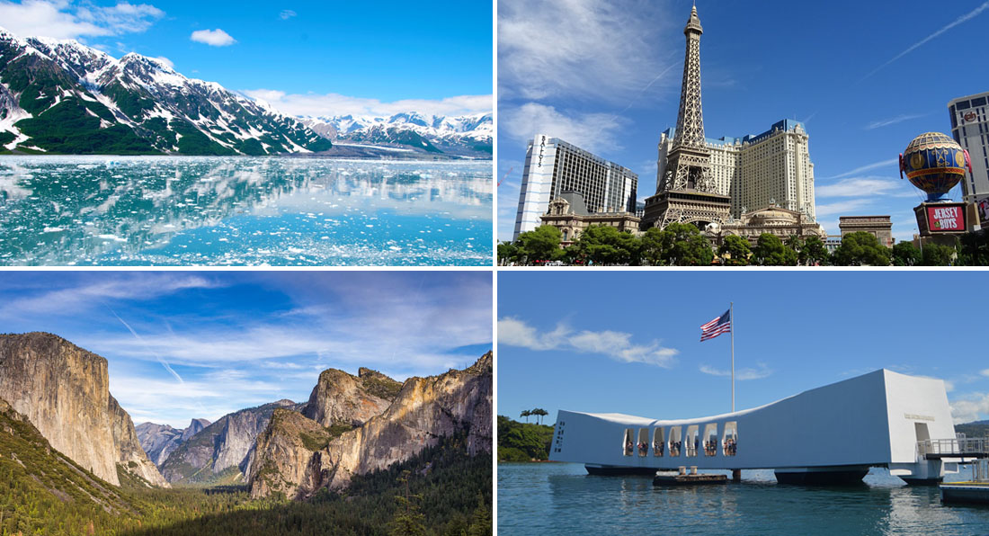 Collage of things to do on the West Coast including glaciers in Alaska, Yosemite Valley, the Las Vegas Strip, and Pearl Harbor Memorial