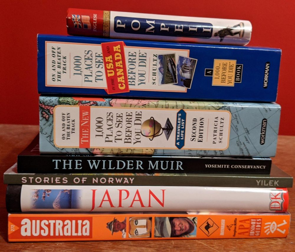 Stack of travel books