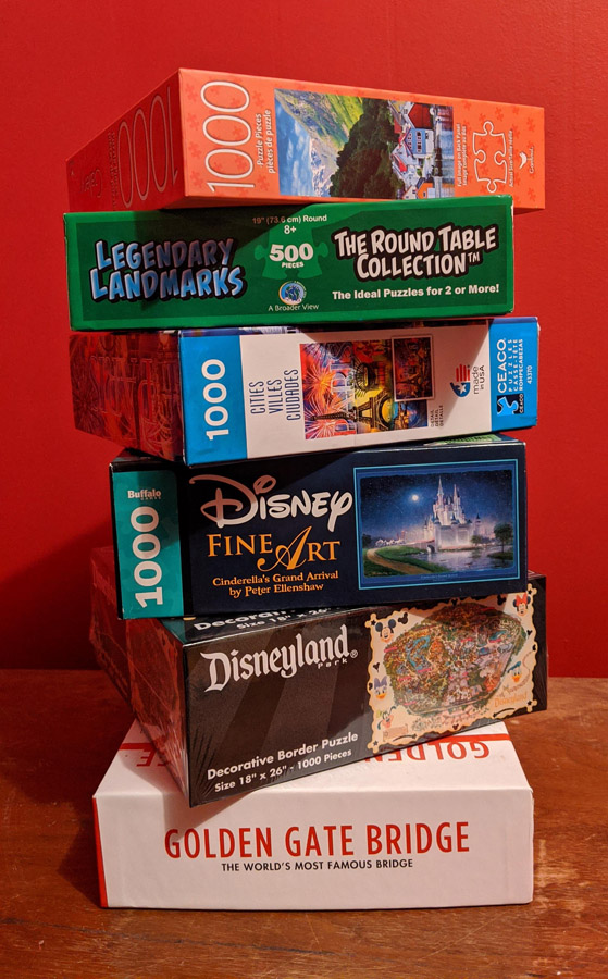 Stack of travel puzzles