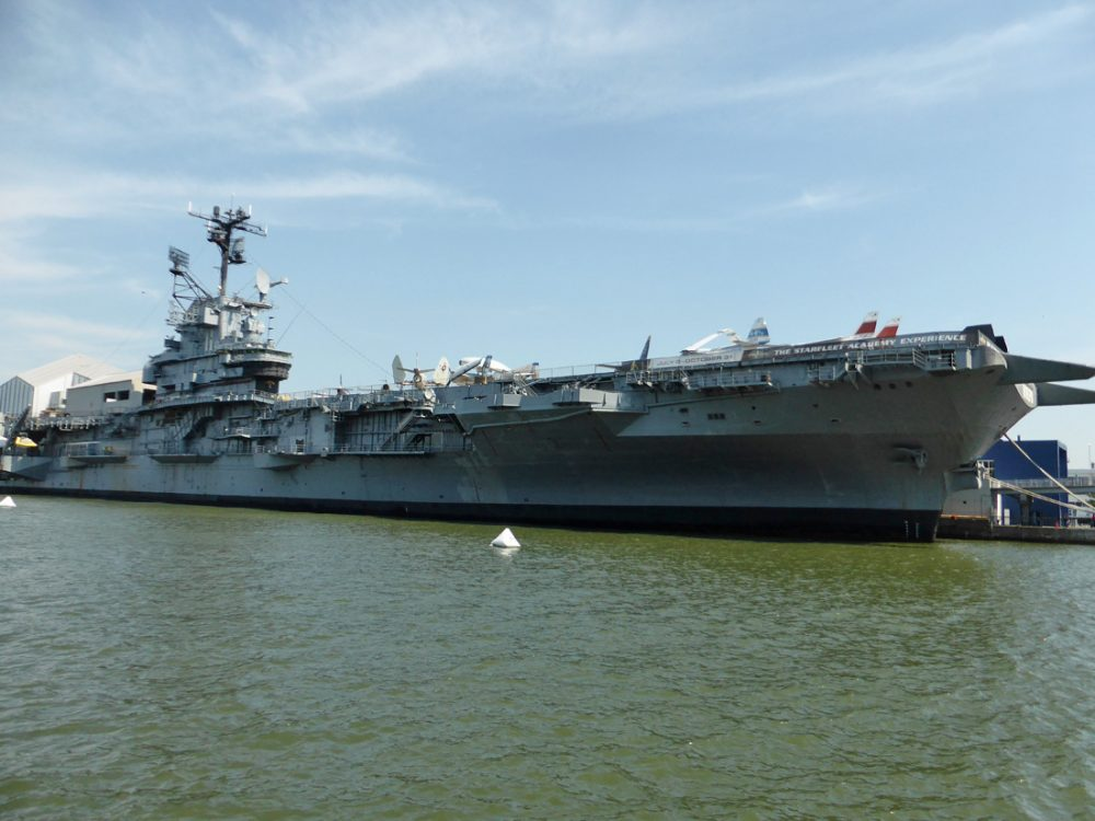 Aircraft carrier parked in New York City