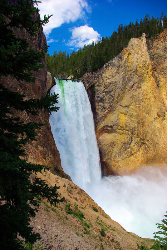 Photo of Yellowstone Falls, a 300+ foot tall cascade of water tumbling down into yellow-tinted cliffs