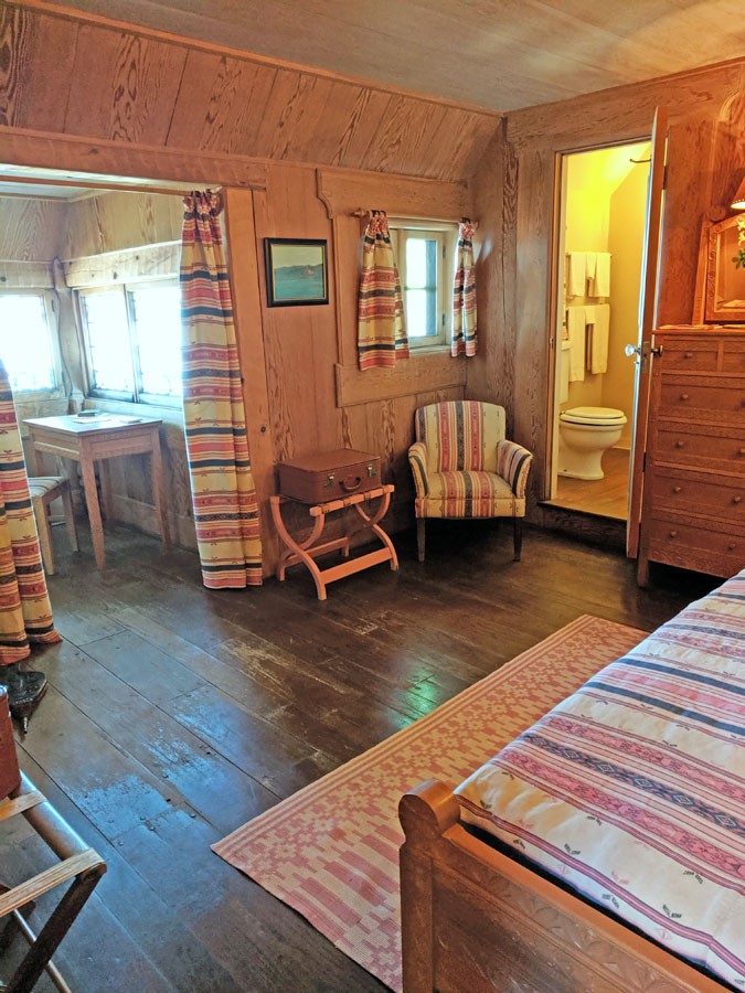 Bedroom and writing nook at Vikingsholm, the Emerald Bay Castle