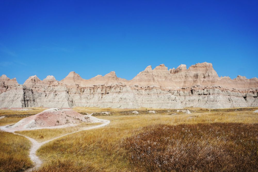 Rock formations and trail in Badlands National Park