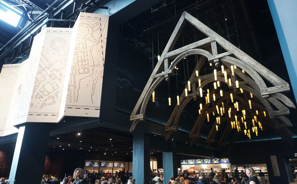 Candles suspended from the ceiling at the Warner Bros studio tour food court