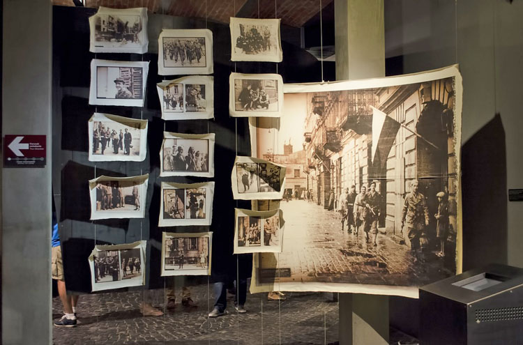 Displays of photographs at the Warsaw Rising Museum, one of the top things to do in Warsaw