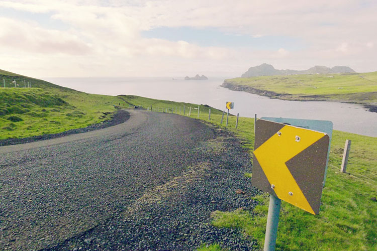 Road in the Westman Islands in Iceland