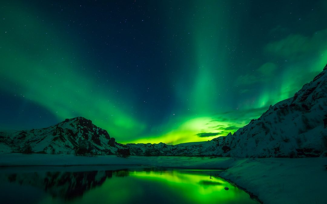 Northern Lights over a lake in Iceland