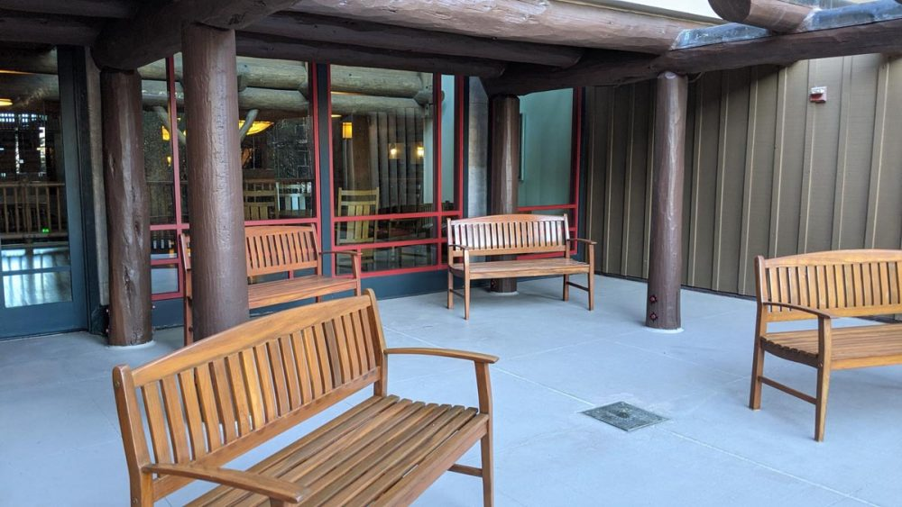 Benches on a balcony in the Wilderness Lodge