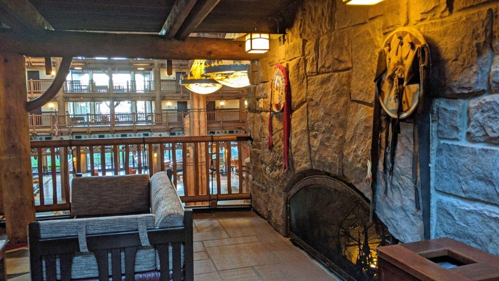 Cozy fireplace above the Wilderness Lodge lobby