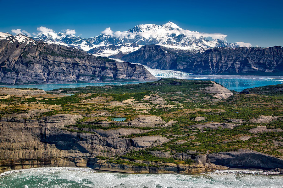 Mountain peaks and lakes in Wrangell-St. Elias National Park