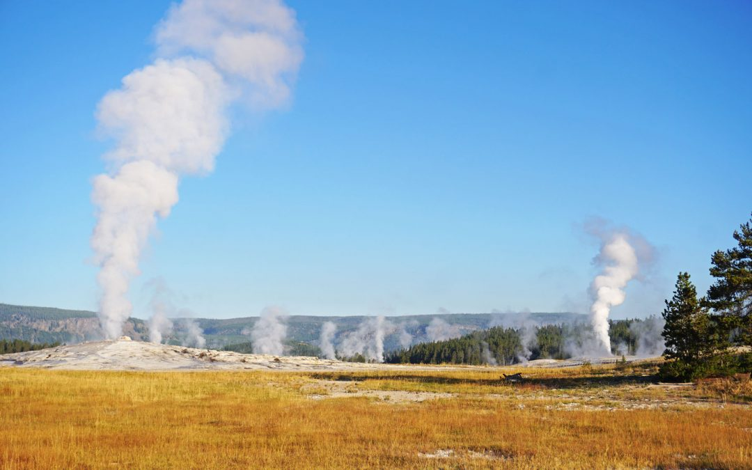 Steam rising from geysers under clear blue skies in Upper Geyser Basin, part of a Yellowstone 3-Day Itinerary
