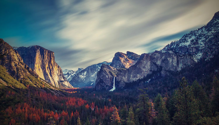 View of Yosemite Valley under dramatic skies