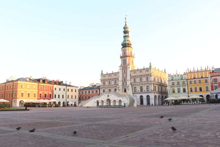 Town square in historic Zamosc, Poland